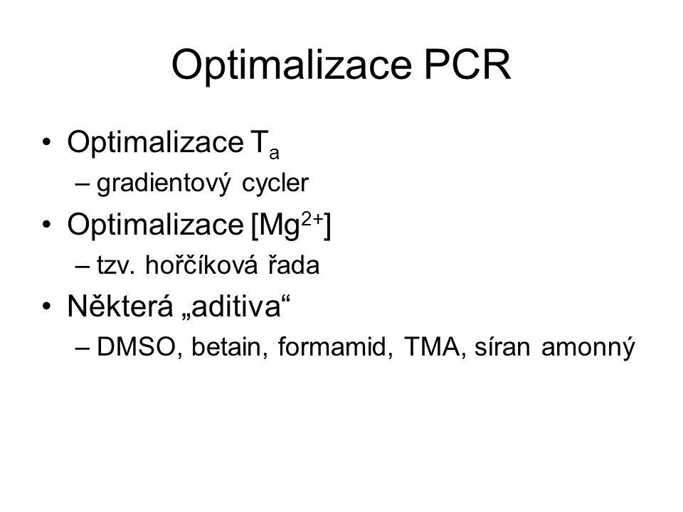 """Optimalizace PCR Optimalizace Ta Optimalizace [Mg2+] Některá """"aditiva"""